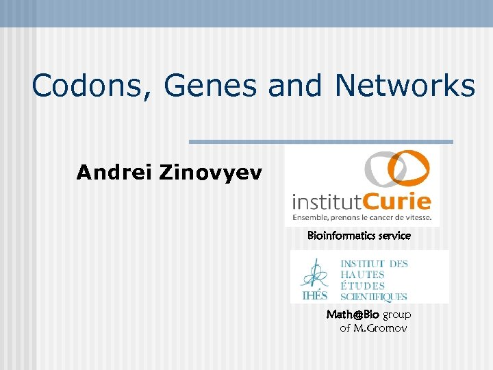 Codons, Genes and Networks Andrei Zinovyev Bioinformatics service Math@Bio group of M. Gromov