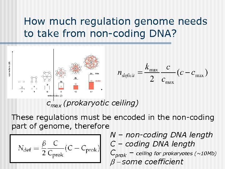 How much regulation genome needs to take from non-coding DNA? cmax (prokaryotic ceiling) These