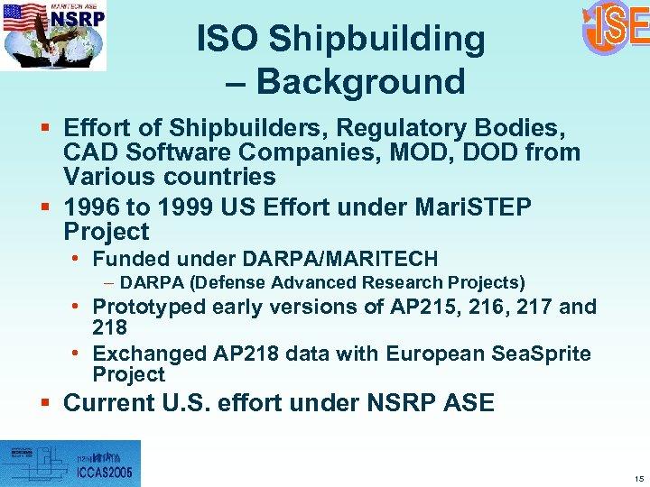 ISO Shipbuilding – Background § Effort of Shipbuilders, Regulatory Bodies, CAD Software Companies, MOD,