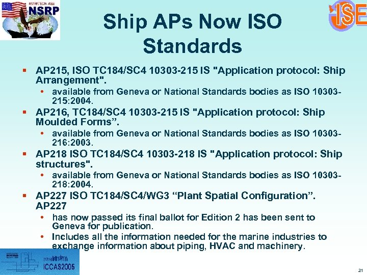Ship APs Now ISO Standards § AP 215, ISO TC 184/SC 4 10303 -215