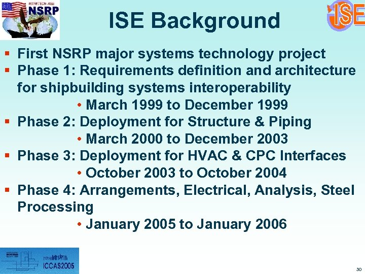 ISE Background § First NSRP major systems technology project § Phase 1: Requirements definition