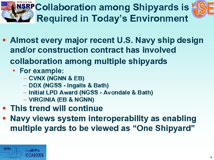 Collaboration among Shipyards is Required in Today's Environment § Almost every major recent U.