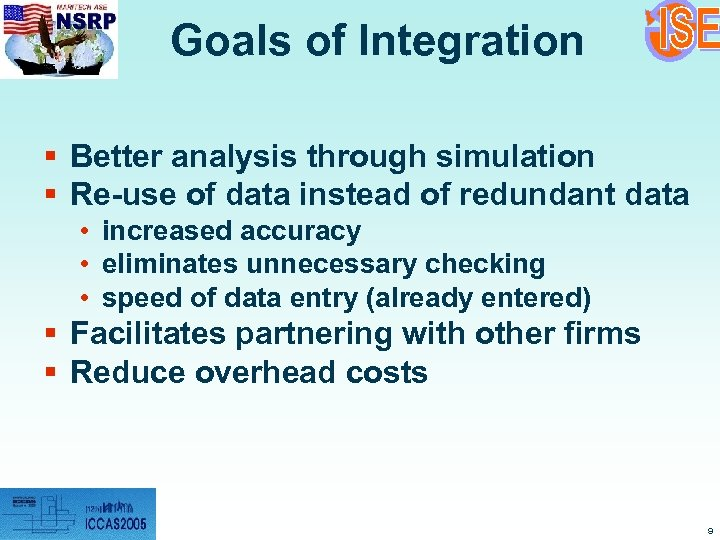 Goals of Integration § Better analysis through simulation § Re-use of data instead of
