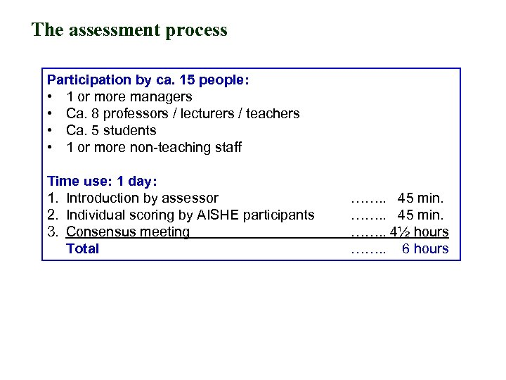 The assessment process Participation by ca. 15 people: • 1 or more managers •