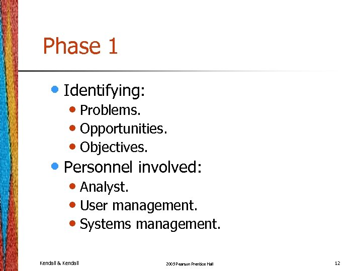 Phase 1 • Identifying: • Problems. • Opportunities. • Objectives. • Personnel involved: •