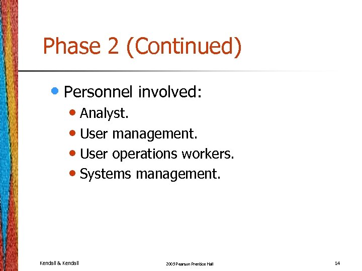 Phase 2 (Continued) • Personnel involved: • Analyst. • User management. • User operations