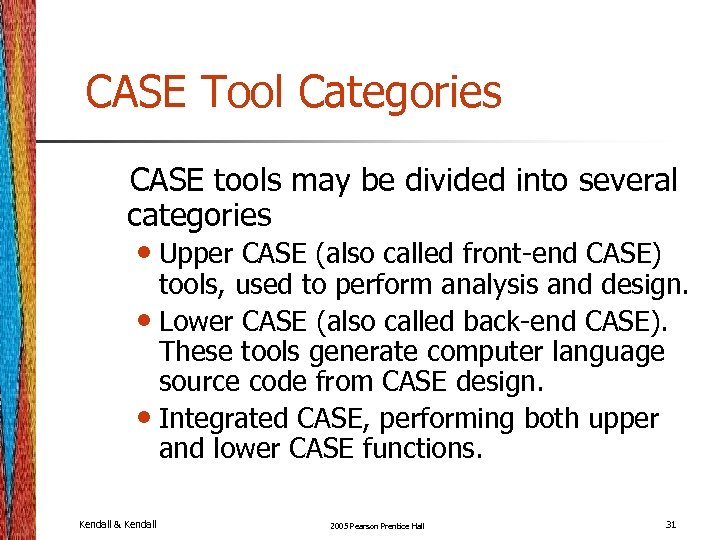 CASE Tool Categories CASE tools may be divided into several categories • Upper CASE