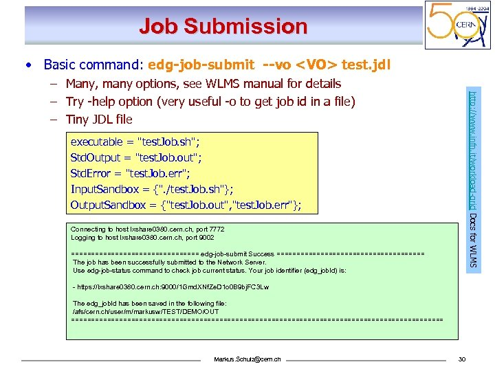 Job Submission • Basic command: edg-job-submit --vo <VO> test. jdl http: //www. infn. it/workload-grid