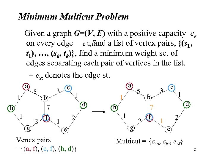 Minimum Multicut Problem Given a graph G=(V, E) with a positive capacity ce on