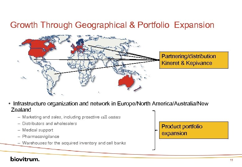 Growth Through Geographical & Portfolio Expansion Partnering/distribution Kineret & Kepivance • Infrastructure organization and