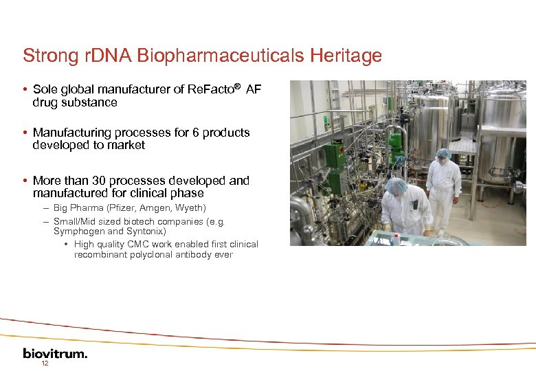 Strong r. DNA Biopharmaceuticals Heritage • Sole global manufacturer of Re. Facto® AF drug