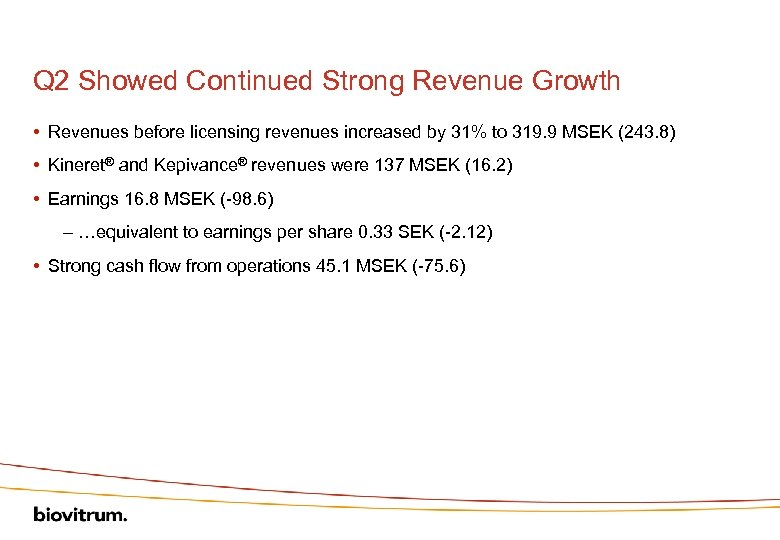 Q 2 Showed Continued Strong Revenue Growth • Revenues before licensing revenues increased by