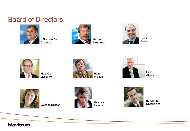 Board of Directors Håkan Åström Chairman Michael Steinmetz Mats-Olof Ljungkvist Hans Wigzell Wenche Rolfsen