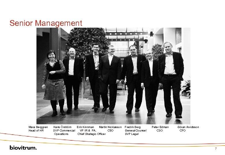 Senior Management Mara Berggren Hans Örström Erik Kinnman Martin Nicklasson Fredrik Berg Peter Edman