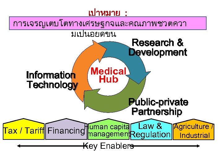 เปาหมาย : การเจรญเตบโตทางเศรษฐกจและคณภาพชวตควา มเปนอยดขน Research & Development Information Technology Medical Hub Public-private Partnership Agriculture