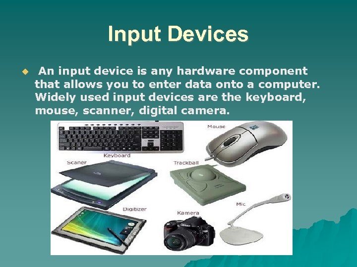Input Devices An input device is any hardware component that allows you to enter