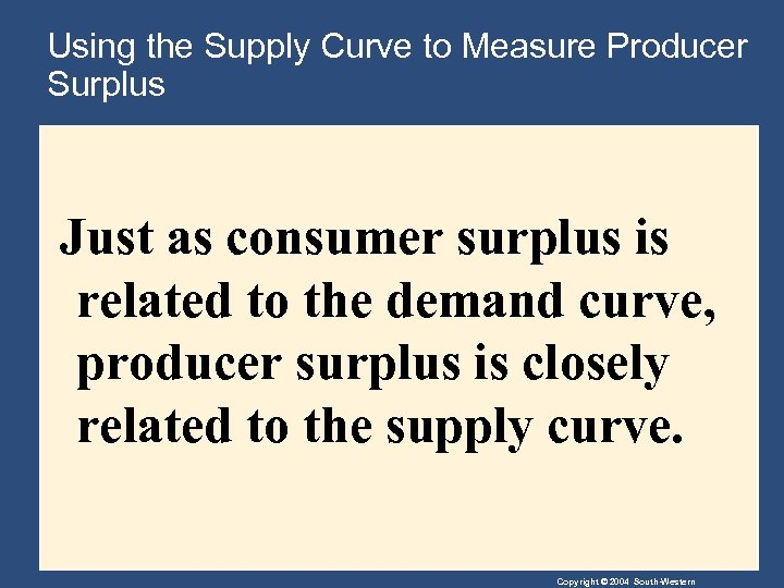 Using the Supply Curve to Measure Producer Surplus Just as consumer surplus is related