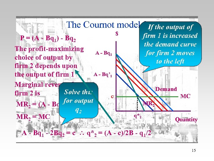 The Cournot model 2 If the output of P = (A - Bq 1)