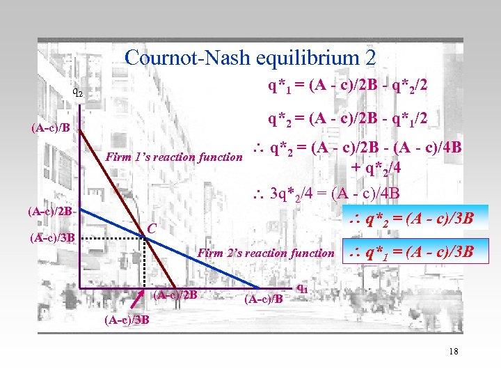 Cournot-Nash equilibrium 2 q*1 = (A - c)/2 B - q*2/2 q 2 q*2