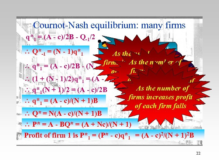Cournot-Nash equilibrium: many firms q*1 = (A - c)/2 B - Q-1/2 How do