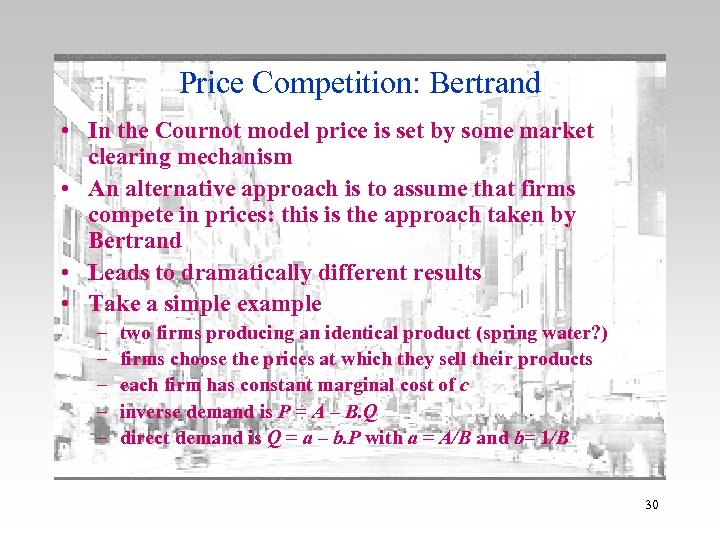 which of the cournot and bertrand The cournot and bertrand models of industry equilibrium now we're going to remove the assumption of price-taking behavior by rms we'll begin.