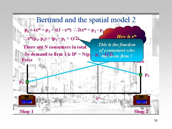 Bertrand the spatial model 2 p 1 + txm = p 2 + t(1