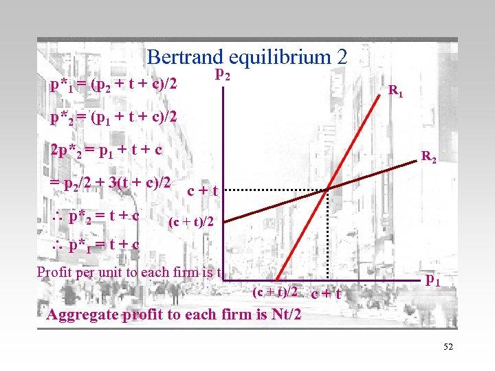 Bertrand equilibrium 2 p*1 = (p 2 + t + c)/2 p 2 R