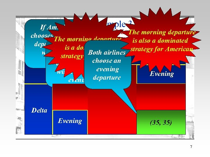 If American The example 3 The Pay-Off Matrix morning departure The chooses a morning