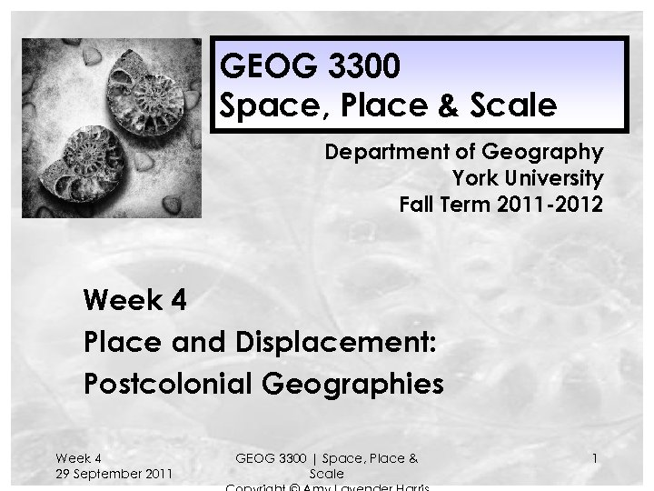 GEOG 3300 Space, Place & Scale Department of Geography York University Fall Term 2011