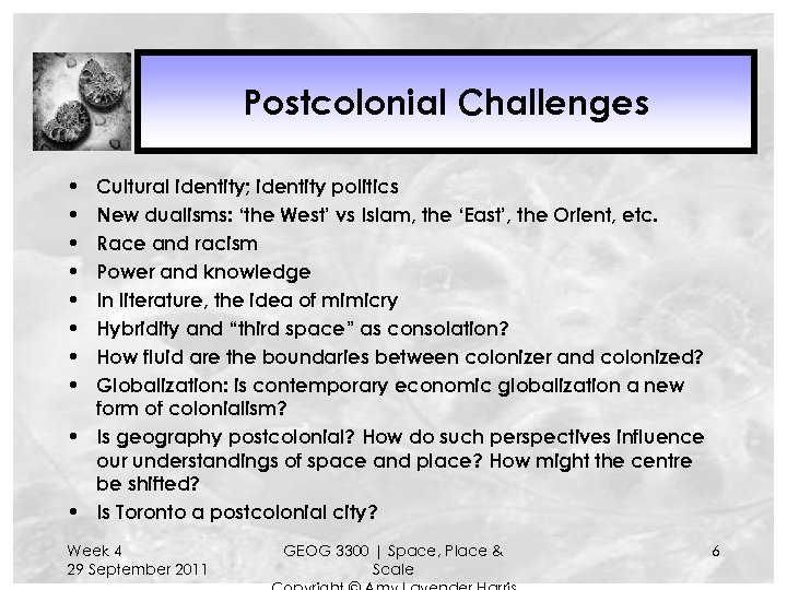Postcolonial Challenges • • Cultural identity; identity politics New dualisms: 'the West' vs Islam,