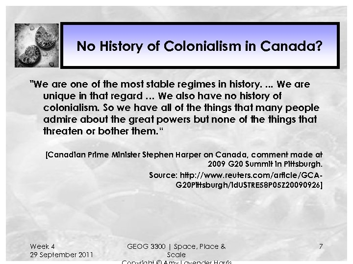 No History of Colonialism in Canada?