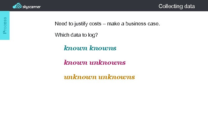 Process Collecting data Need to justify costs – make a business case. Which data