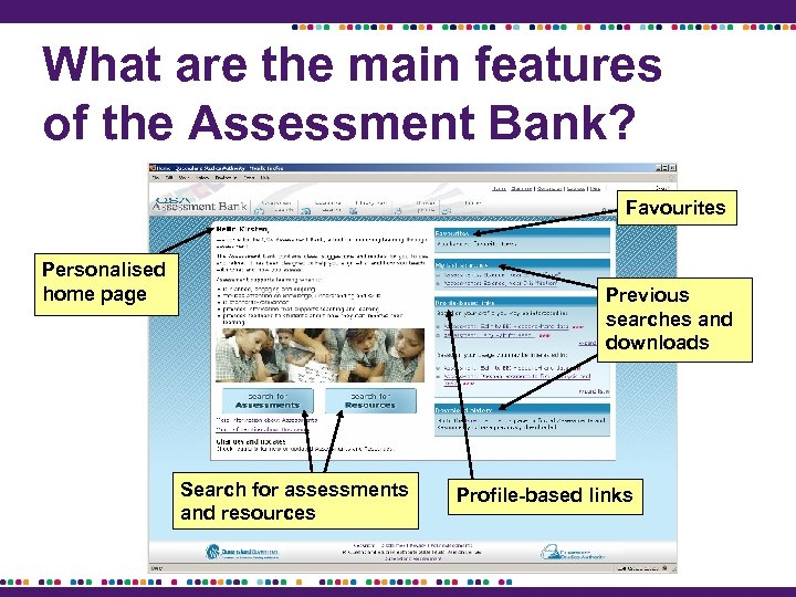 What are the main features of the Assessment Bank? Favourites Personalised home page Previous