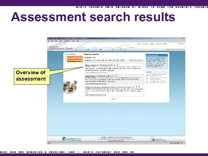 Assessment search results Overview of assessment