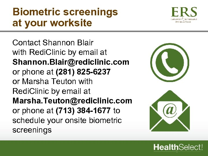 Biometric screenings at your worksite Contact Shannon Blair with Redi. Clinic by email at
