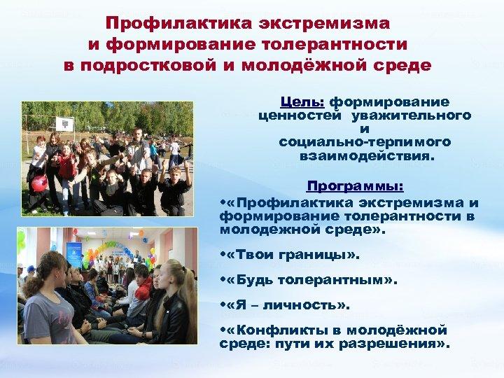 Профилактика экстремизма и формирование толерантности в подростковой и молодёжной среде Цель: формирование ценностей уважительного