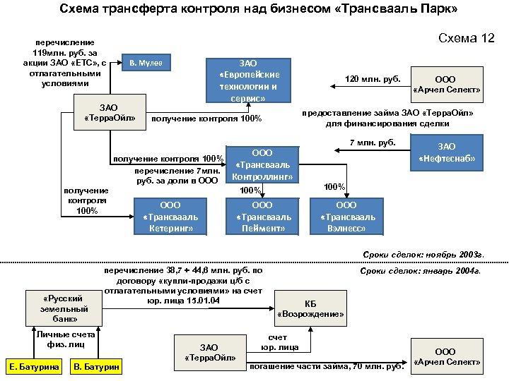 Схема трансферта контроля над бизнесом «Трансвааль Парк» Схема 12 перечисление 119 млн. руб. за
