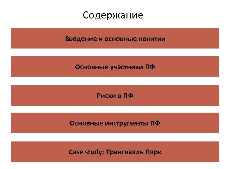 Содержание Введение и основные понятия Основные участники ПФ Риски в ПФ Основные инструменты ПФ