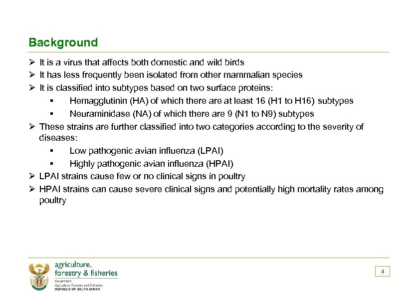 Background Ø It is a virus that affects both domestic and wild birds Ø