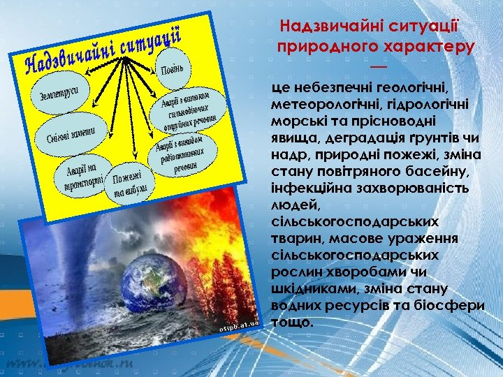 Надзвичайні ситуації природного характеру — це небезпечні геологічні, метеорологічні, гідрологічні морські та прісноводні явища,