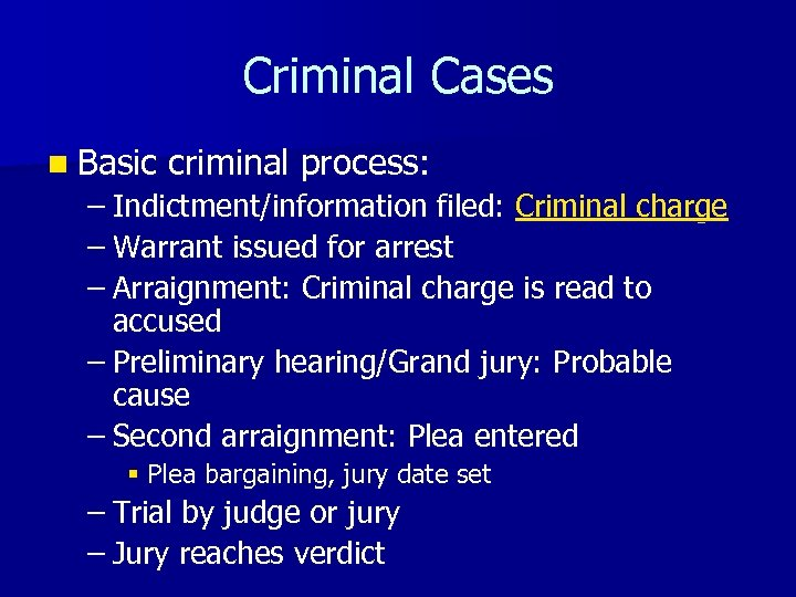 Criminal Cases n Basic criminal process: – Indictment/information filed: Criminal charge – Warrant issued