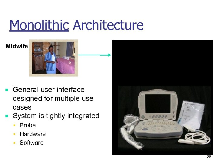 Monolithic Architecture Midwife All – in – One Ultrasound Systems General user interface designed