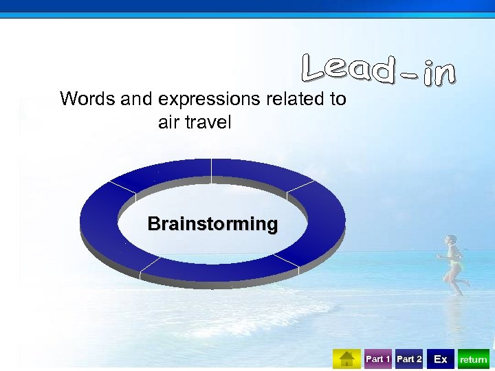 Words and expressions related to air travel Brainstorming Part 1 Part 2 Ex return