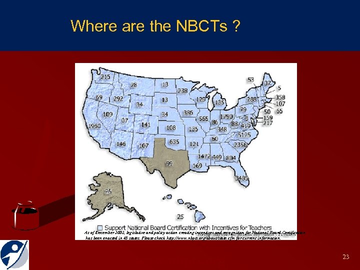 National Board Certified Teachers Where are the NBCTs ? As of December 2002, legislative