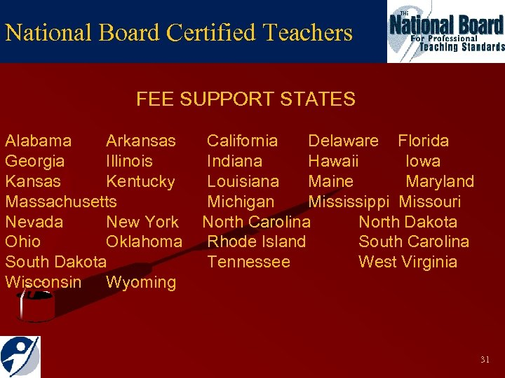 National Board Certified Teachers FEE SUPPORT STATES Alabama Arkansas Georgia Illinois Kansas Kentucky Massachusetts