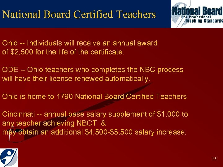 National Board Certified Teachers Ohio -- Individuals will receive an annual award of $2,