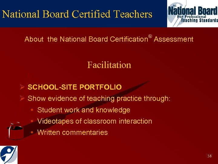 National Board Certified Teachers About the National Board Certification® Assessment Facilitation Ø SCHOOL-SITE PORTFOLIO