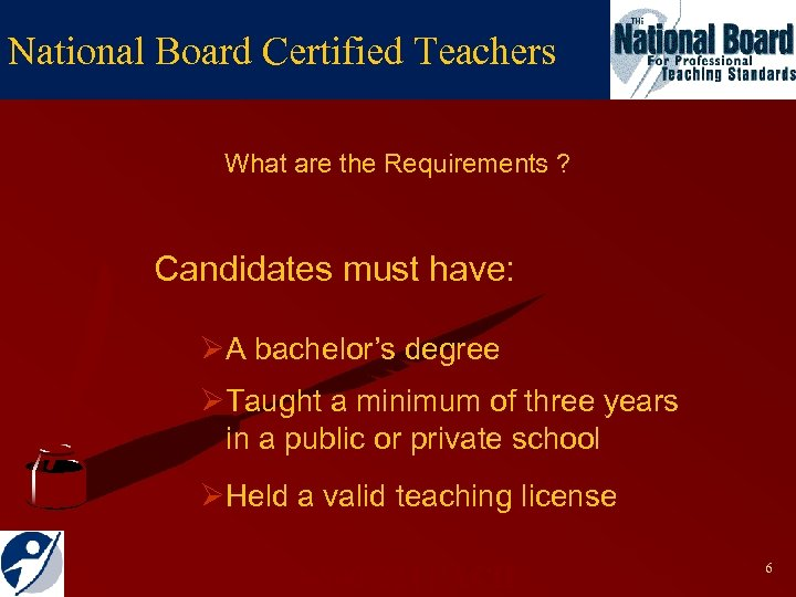 National Board Certified Teachers What are the Requirements ? Candidates must have: ØA bachelor's