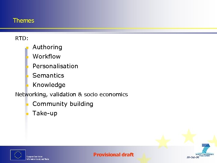 Themes RTD: n Authoring n Workflow n Personalisation n Semantics n Knowledge Networking, validation