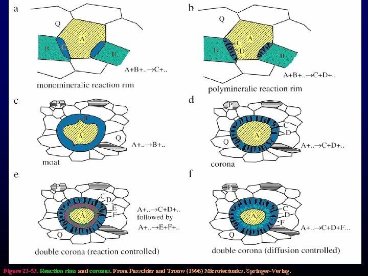 Figure 23 -53. Reaction rims and coronas. From Passchier and Trouw (1996) Microtectonics. Springer-Verlag.
